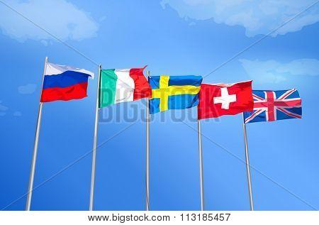 Russian, Italian, Swedish, Swiss, British flags together on blue sky background