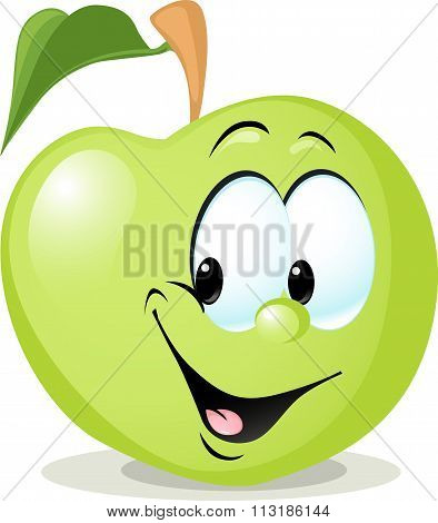 Cute Apple Character - Vector Illustration Isolated On White Background