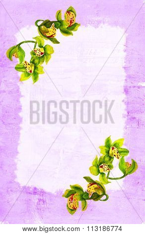 Greeting card template with watercolour wild orchids on distressed background with obscure writing