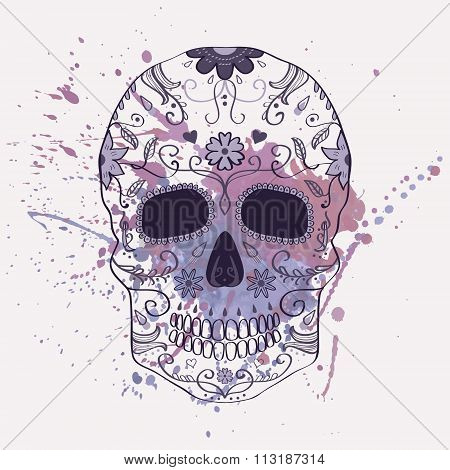 Vector Illustration Of Day Of The Dead Skull With Ornament And Watercolor Splash