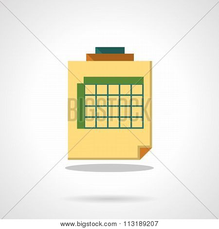 Sheet with table flat color vector icon