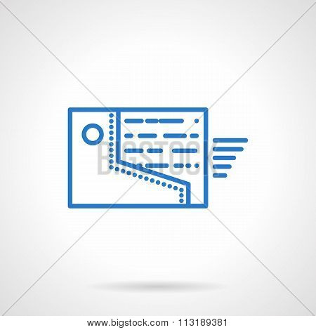 Sending files flat blue line vector icon