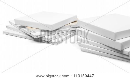 Gallery Wrapped Blank Canvas On Wooden Frame - Stretcher Bar Frames Isolated On White With Clipping