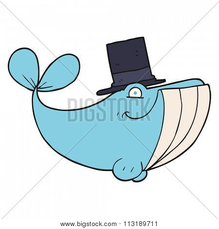 freehand drawn cartoon whale wearing top hat
