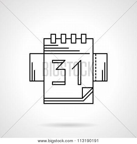Calendar black flat line vector icon