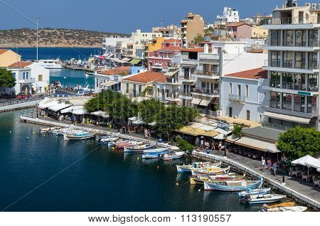Parked boats in harbour of Agios Nikolaos town, Crete island