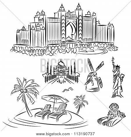 Landmarks icons set line illustration