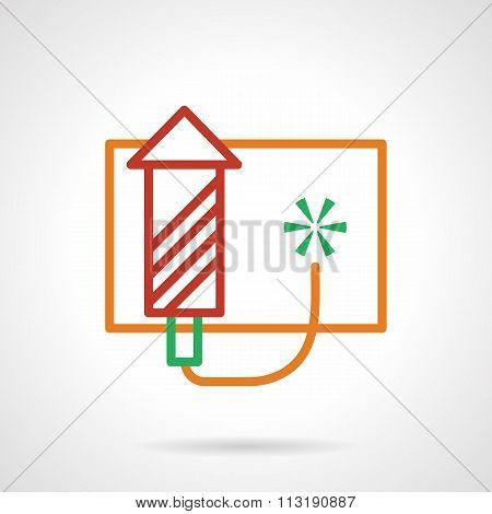 Red firework rocket simple color line vector icon