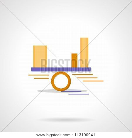 Balance diagram abstract flat color vector icon