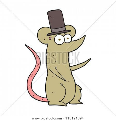 freehand drawn cartoon mouse wearing top hat