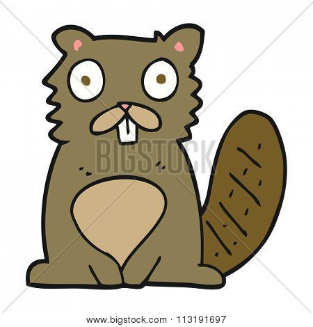freehand drawn cartoon beaver