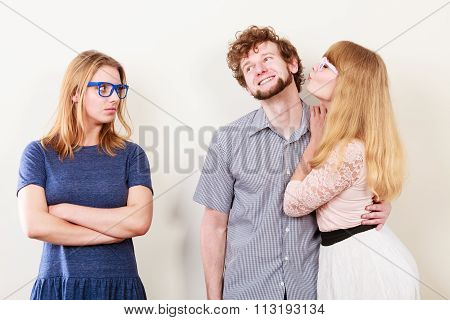 Jealous Woman With Happy Couple