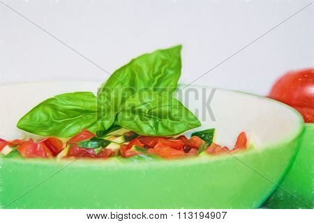Salsa in a green bowl with a basil leaf, soft painted style