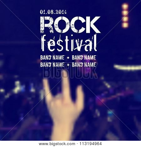 Vector Blurred Background With Rock Stage And Crowd. Rock Concert Design Template With Hand