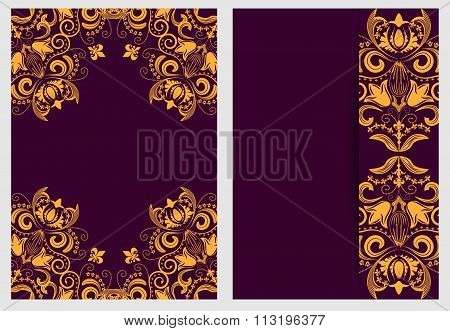 Set Of Nifty Template For Design Invitations And Greeting Cards. Ornate Elegant Pattern Gold On Purp