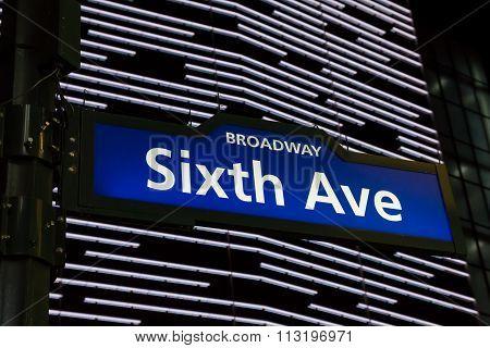 Illuminated Sixth Avenue Street Sign In New York City
