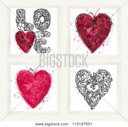 Valentines day set for holiday greeting cards. Valentine heart set. Valentines heart background. Val