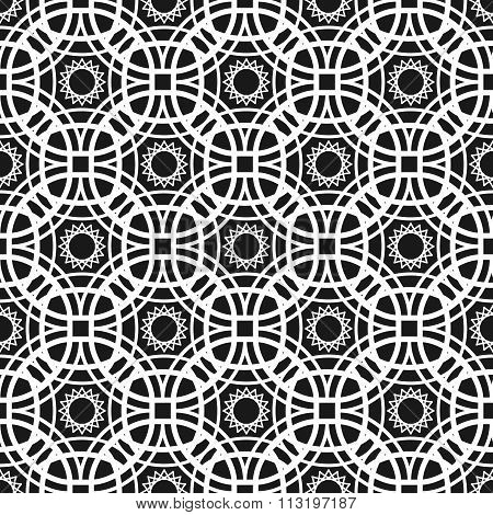 Monochrome Seamless Pattern With Geometric Ornament Of Of Intertwined Rhombuses.
