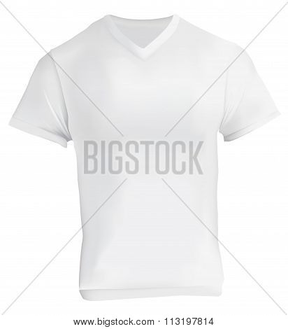 White V-neck Shirt Design Template