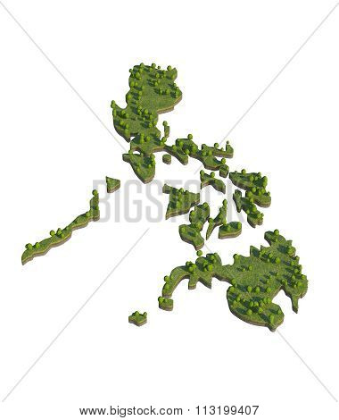 Philippines 3D Map Section Cut Isolated On White With Clipping Path