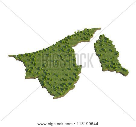 Brunei 3D Map Section Cut Isolated On White With Clipping Path