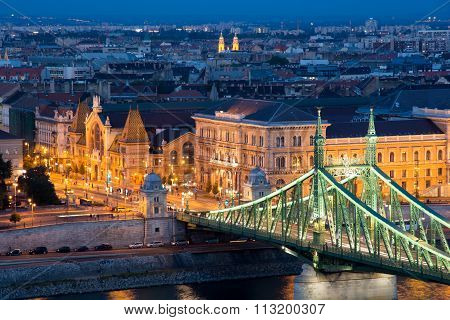 Budapest Cityscape With The Liberty Bridge And The Great Market Hall