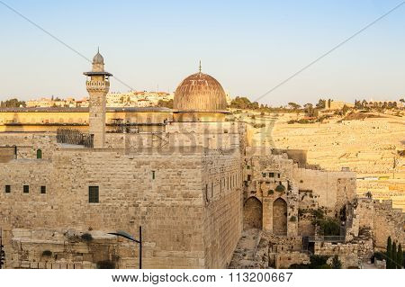 Al Aqsa Mosque And Mount Of Olives, Jerusalem