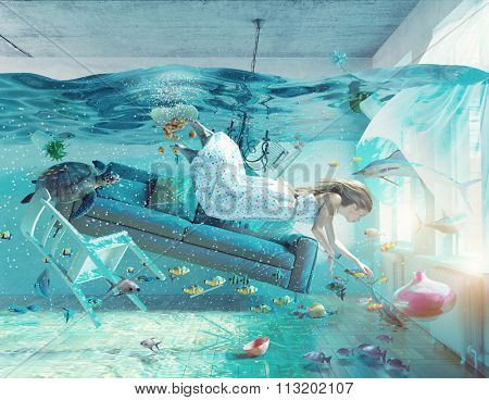 an underwater view in the flooding interior and young woman . photo combination concept