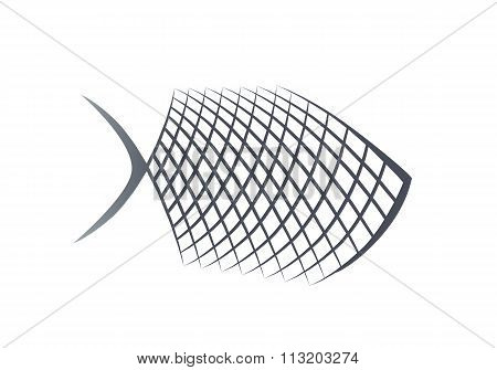 Fish stylized abstract icon. Food symbol. Grilled fish black sign on white background. Vector isolat