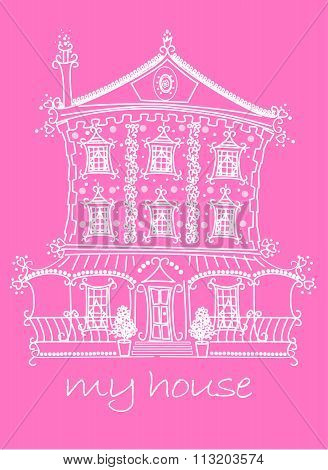 Pretty Lace Doll House On Pink Background