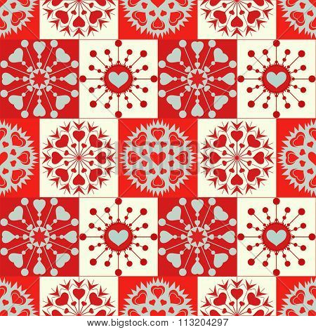 Christmas seamless pattern of heart snowflakes. New Year, Valentine day, birthday texture. Red, gray