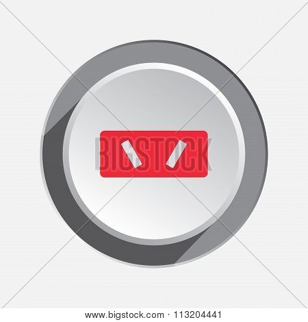 Electric plug sign. Power energy symbol. Australian, Argentina standard. Red sign on white-gray butt