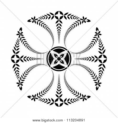 Laurel wreath tattoo. Black ornament. Cross Templars sign on white background.  Defense, peace, glor