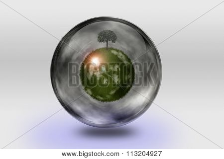 Green globe inside transparent container