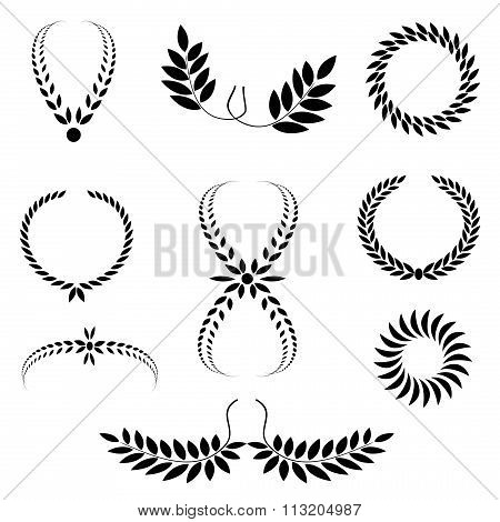Laurel wreath tattoo set. Black ornaments, nine signs on white background.  Victory, peace, glory sy