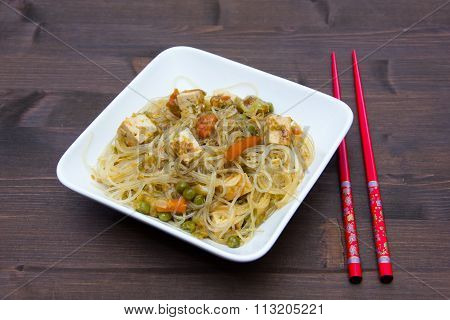 Bean vermicelli with vegetables on wood