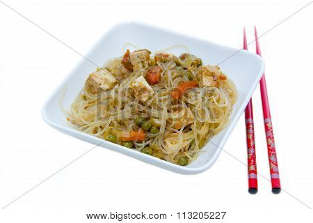 Bean vermicelli with vegetables