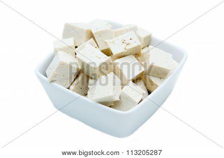 Cubes of tofu square bowl