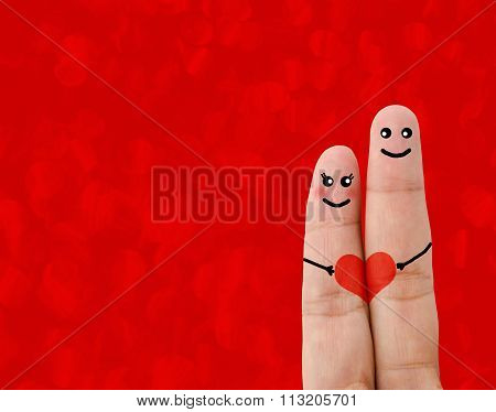 Painted Finger Smiley, Valentine's Day Concept.