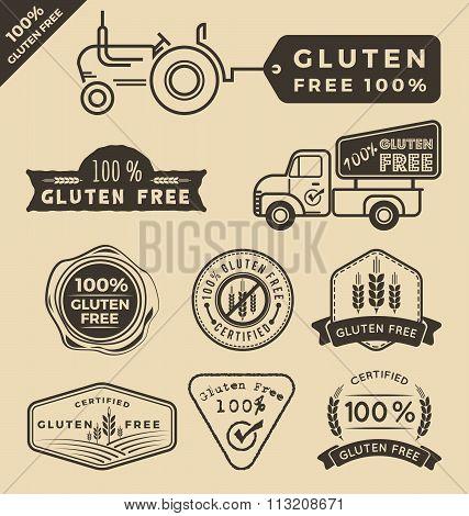 Set Of Gluten Free Food Certified Logo