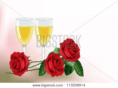 Roses and wine for two