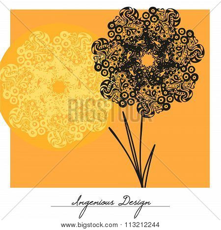 Vector Flowers Over Yellow Background.