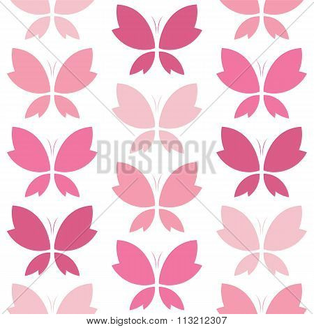 Vector Seamless Pattern With Pink Butterfly On White Background. Wallpaper