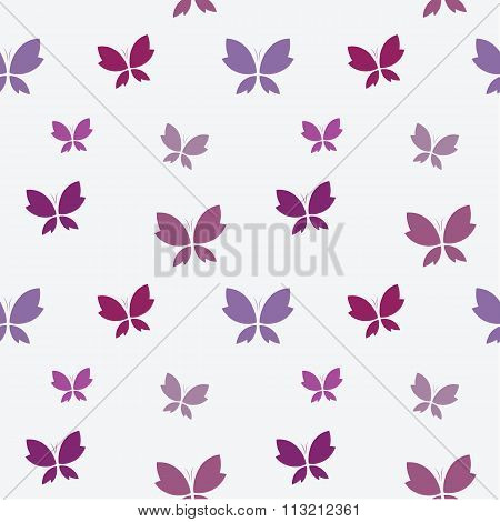 Vector Seamless Pattern With Purple Butterfly On White Background. Wallpaper