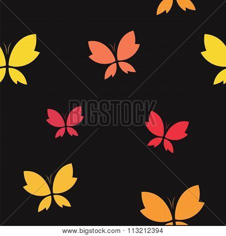 Vector Seamless Pattern With Butterfly On Black Background. Wallpaper
