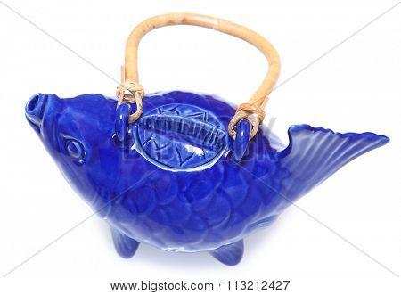 Blue Koi Fish Tea Pot Over White