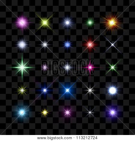 Colored starburst, stars and sparkles burst glowing light effect on transparent background. Transparent star.