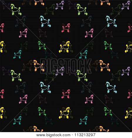 Dog Poodle Vector Art Background Design For Fabric And Decor. Seamless Pattern