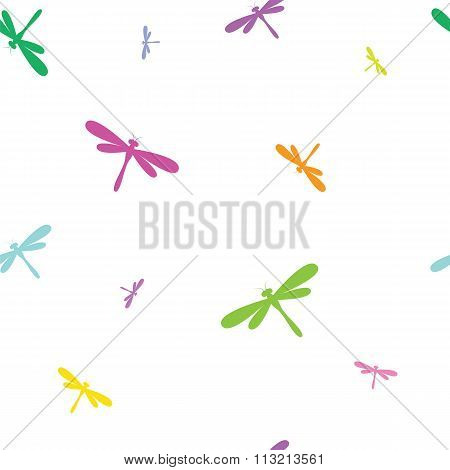 Dragonfly Vector Art Background Design For Fabric And Decor. Seamless Pattern