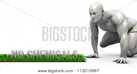 No Chemicals Concept with Man Looking Closely to Verify